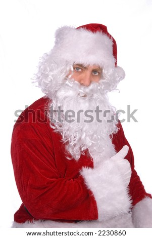 Santa Claus gives a jolly thumbs up - stock photo