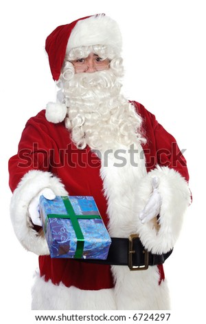 Santa Claus giving a gift over white background
