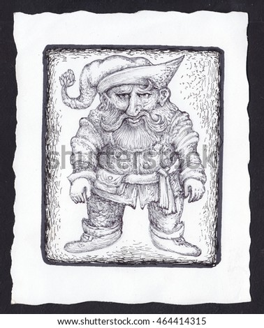 Santa Claus gnome, deck of tarot cards. illustration, fantasy set.  Christmas  uneven edge handmade paper. Black and white decorated with patterned frame.