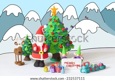 Santa Claus, gnomes and reindeer handmade with modeling clay wishing Merry Christmas on a drawn winter background - stock photo