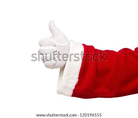 Santa Claus hand showing thumbs up isolated on white background - stock photo
