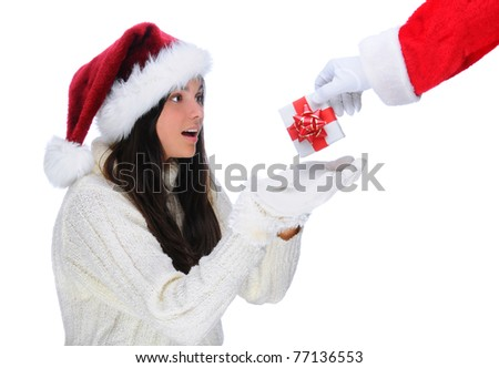 Santa Claus Handing a Christmas Present to Young Woman. Horizontal format on a white background.