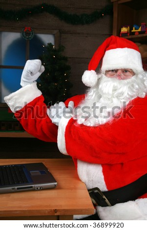 santa claus has been working out at the gym - stock photo