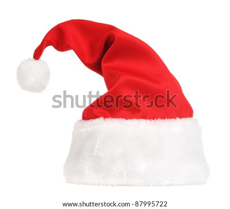 Santa Claus hat isolated in white background - stock photo