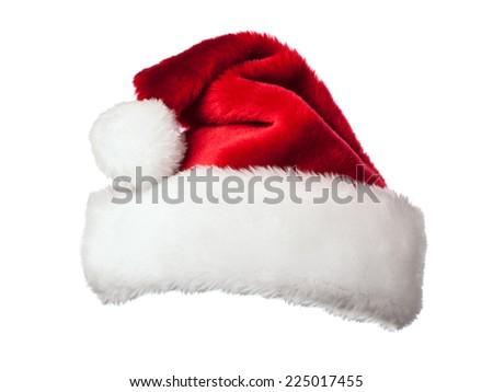 Santa Claus hat isolated on white background - stock photo