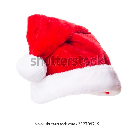 Santa Claus hat Isolated on white background - stock photo