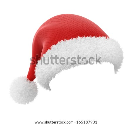 Santa Claus hat, isolated on white background with a workpath - stock photo