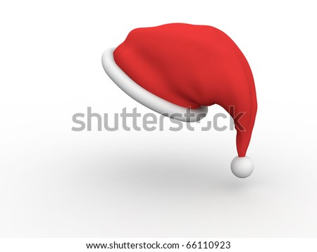 Santa Claus hat isolated on white background with shadow - stock photo