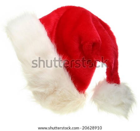 Santa Claus hat isolated on white. Christmas icons collection. - stock photo