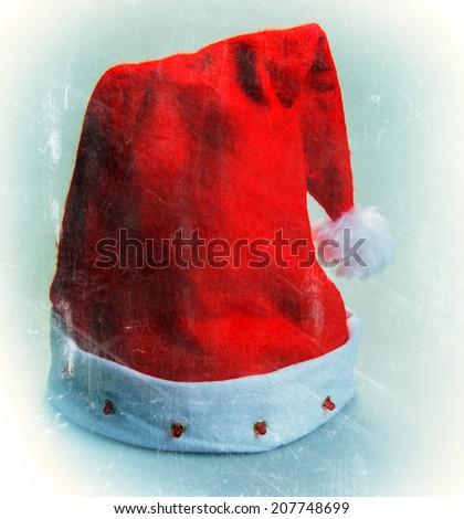Santa Claus hat on a light background, closeup - stock photo