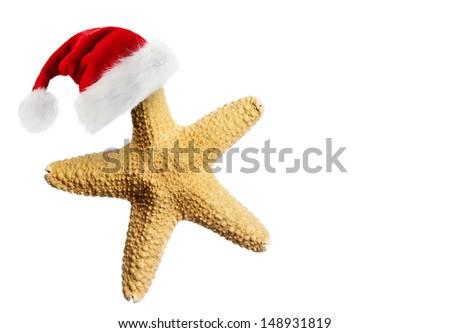 Santa Claus hat on starfish - stock photo