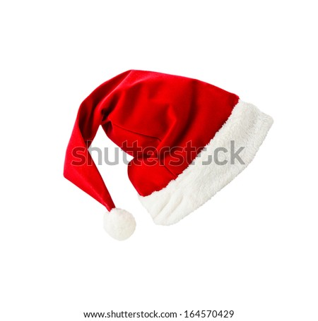 Santa Claus hat on white background - stock photo