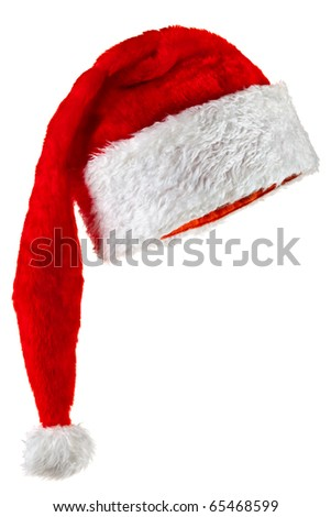 Santa Claus hat with a long crown. Isolated on white. - stock photo