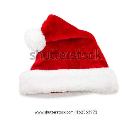 Santa Claus hats isolated on white background - stock photo