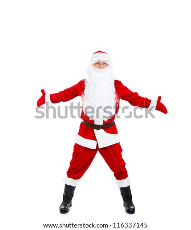 Santa Claus hold wide open palm gesture full length portrait with raised gloves hands arms, isolated on white background, merry christmas time and happy new year - stock photo