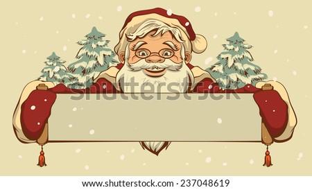 Santa Claus holding a banner - stock photo