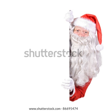Santa Claus holding a blank sign isolated on white background - stock photo