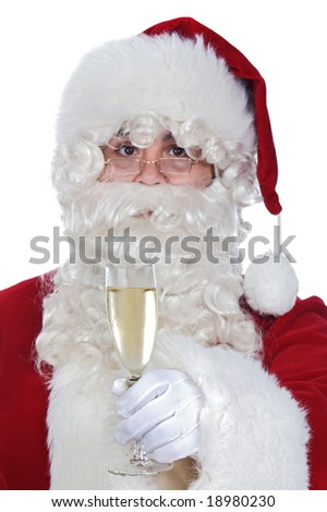 Santa Claus holding a glass