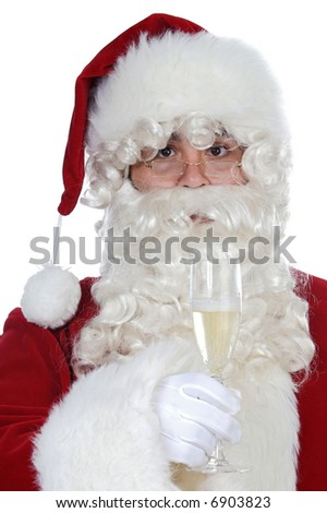 Santa Claus holding a glass over white background