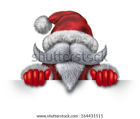 Santa Claus holding a horizontal blank sign as an icon with a white beard and a red snow suit for Christmas fun and joyous winter holiday celebration on a white background with copy space. - stock photo