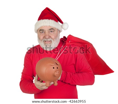 Santa Claus holding a piggybank isolated on white background
