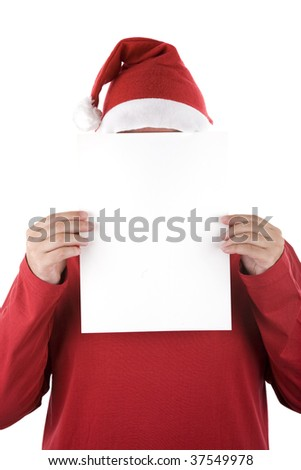 Santa Claus holding a sheet of blank white paper with space to add your text or design.