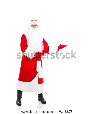 Santa Claus holding Banner hold point open palm, with blank empty copy space for Text full length portrait isolated over white background, concept of christmas new year sale shopping - stock photo