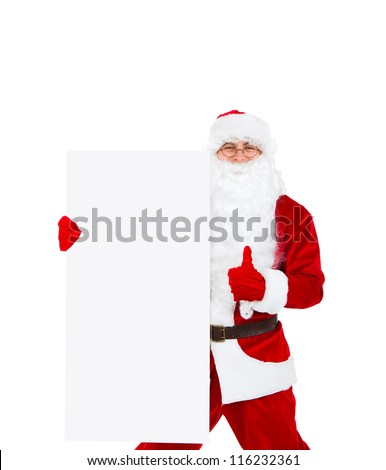 Santa Claus holding Banner show thumb up finger gesture, white board with blank empty copy space for Text isolated over white background, concept of christmas new year sale shopping