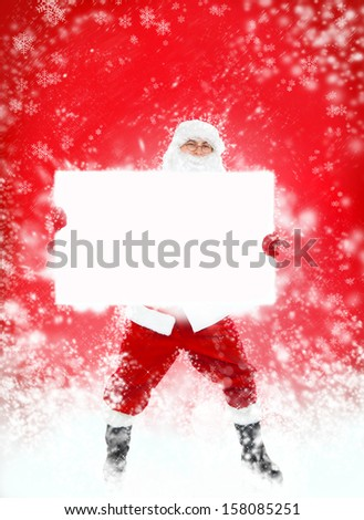 Santa Claus holding Banner, white board with blank empty copy space for Text isolated over white background, concept of christmas new year sale shopping - stock photo