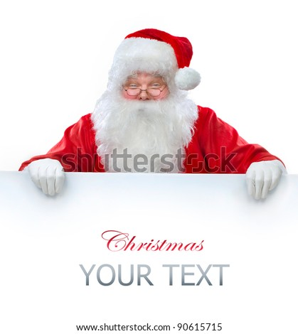 Santa Claus holding Banner with Space for Your Text - stock photo