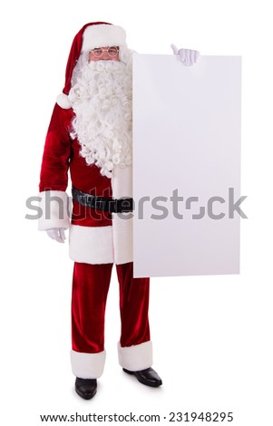 Santa Claus holding Banner with Space for Your Text . Isolated on white background - stock photo