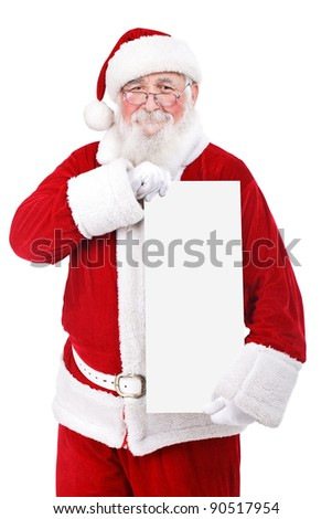 Santa Claus  holding blank banner, isolated on white background - stock photo