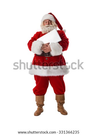Santa Claus holding blank white sign Full Length Portrait. Isolated on White Background
