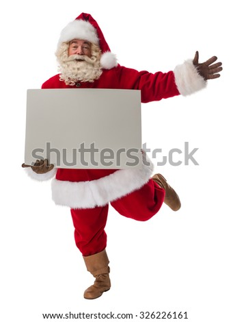 Santa Claus holding copyspace blank sign. Full Length Portrait Isolated on White Background - stock photo