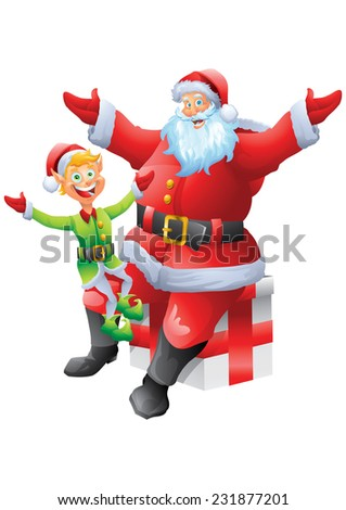 Santa claus holding elf on lap, isolated