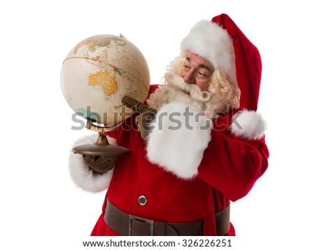 Santa Claus holding globe. Portrait Isolated on White Background - stock photo