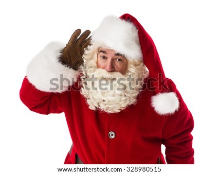 Santa Claus holding hand near ear Closeup Portrait - stock photo