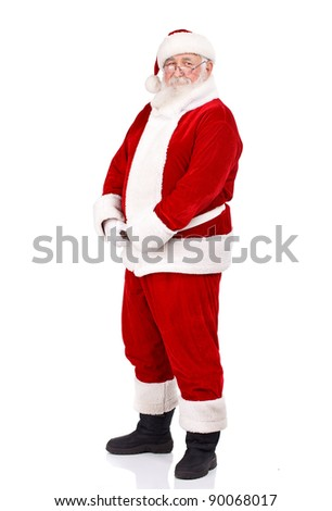 Santa Claus holding  his big belly, full body, isolated on white background - stock photo