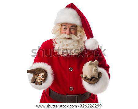 Santa Claus holding piggy bank and cash money. Portrait Isolated on White Background