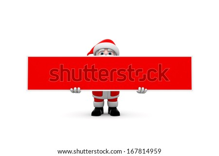 Santa Claus holding red color board isolated on white. - stock photo