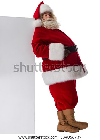 Santa Claus holding white blank sign Full Length Portrait. Isolated on White background - stock photo