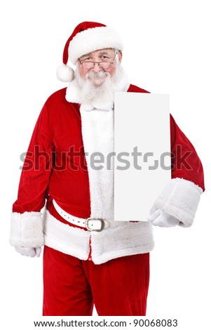 Santa Claus holding white blank sign, isolated on white background - stock photo