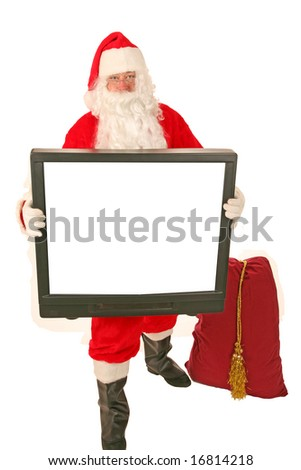 Santa Claus holds a Television as a gift to YOU the Viewer  isolated on white