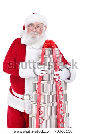 Santa Claus hugging lot of gift boxes, isolated on white background - stock photo