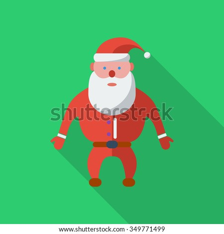 Santa Claus icon. Flat related icon with long shadow for web and mobile applications. It can be used as - logo, pictogram, icon, infographic element. Illustration. - stock photo