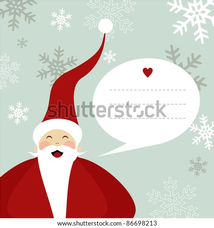 Santa Claus illustration with dialog balloon on snowy background.  Vector file available. - stock photo