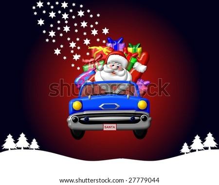 santa claus in a car - stock photo