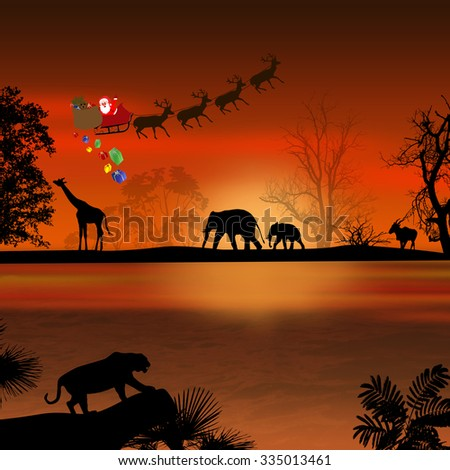 Santa Claus in Africa - silhouettes of wild animals and flying Santa on beautiful sunset - stock photo
