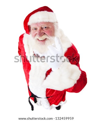 Santa Claus in authentic look. All on white background. - stock photo