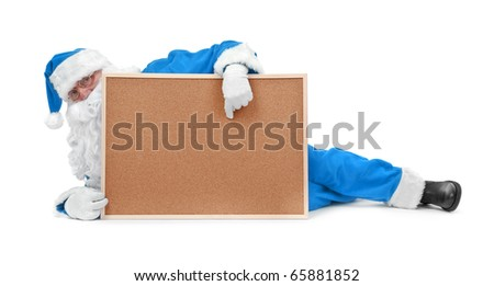 Santa claus in blue costume and empty bulletin board on white - stock photo